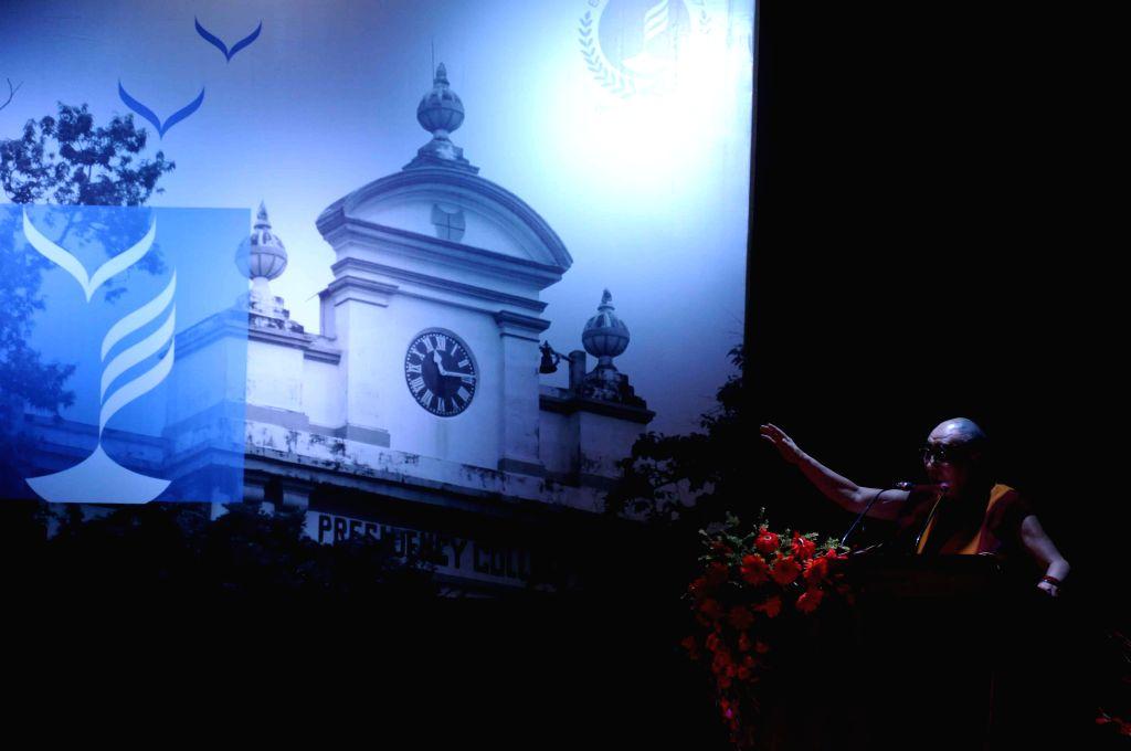 Dalai Lama the spiritual head of Tibetan Buddhists addresses during a programme organised at Presidency University in Kolkata, on Jan 13, 2015.