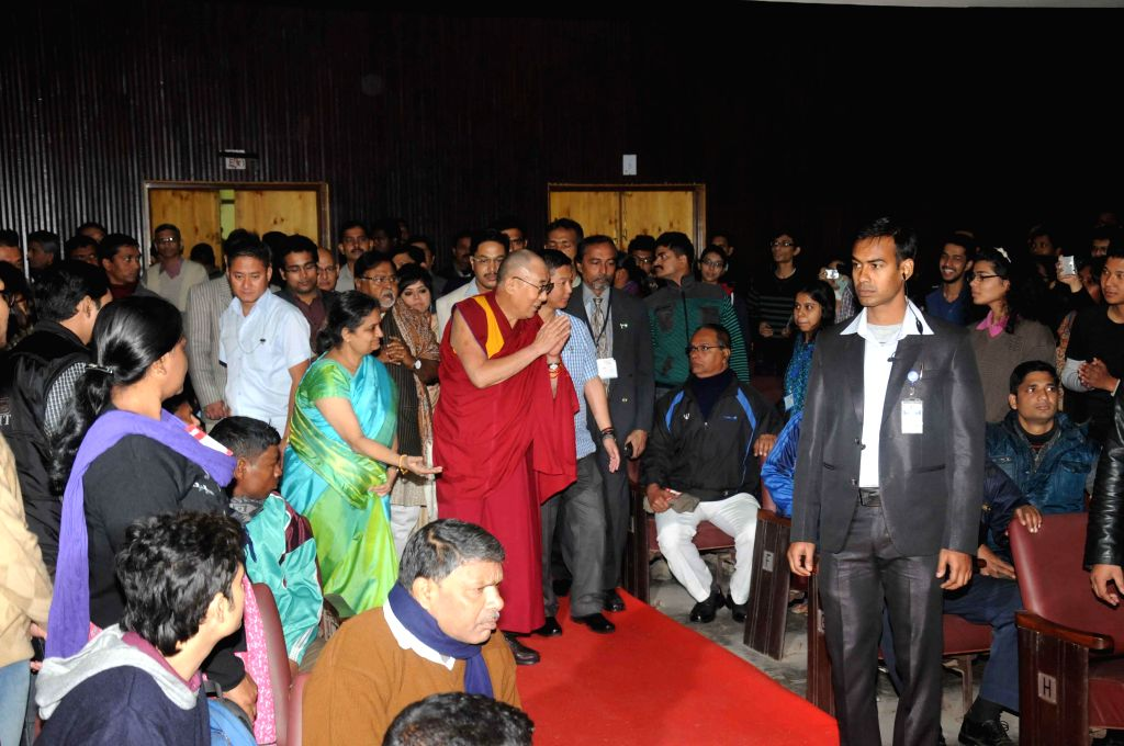 Dalai Lama the spiritual head of Tibetan Buddhists during a programme organised at Presidency University in Kolkata, on Jan 13, 2015.