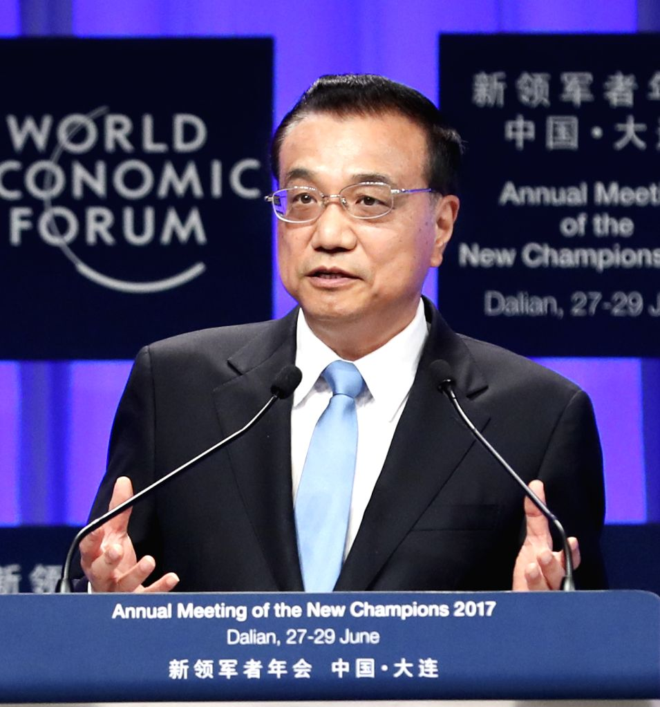 DALIAN, June 27, 2017 - Chinese Premier Li Keqiang addresses the opening ceremony of the Annual Meeting of the New Champions 2017, or Summer Davos, in the city of Dalian, northeast China's Liaoning ...