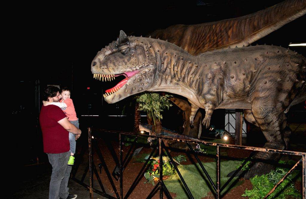 DALLAS, Dec. 8, 2019 - A father and his child watch a dinosaur model at the Jurassic Quest exhibition in Dallas, Texas, the United States, on Dec. 8, 2019. Dinosaur exhibition Jurassic Quest is held ...
