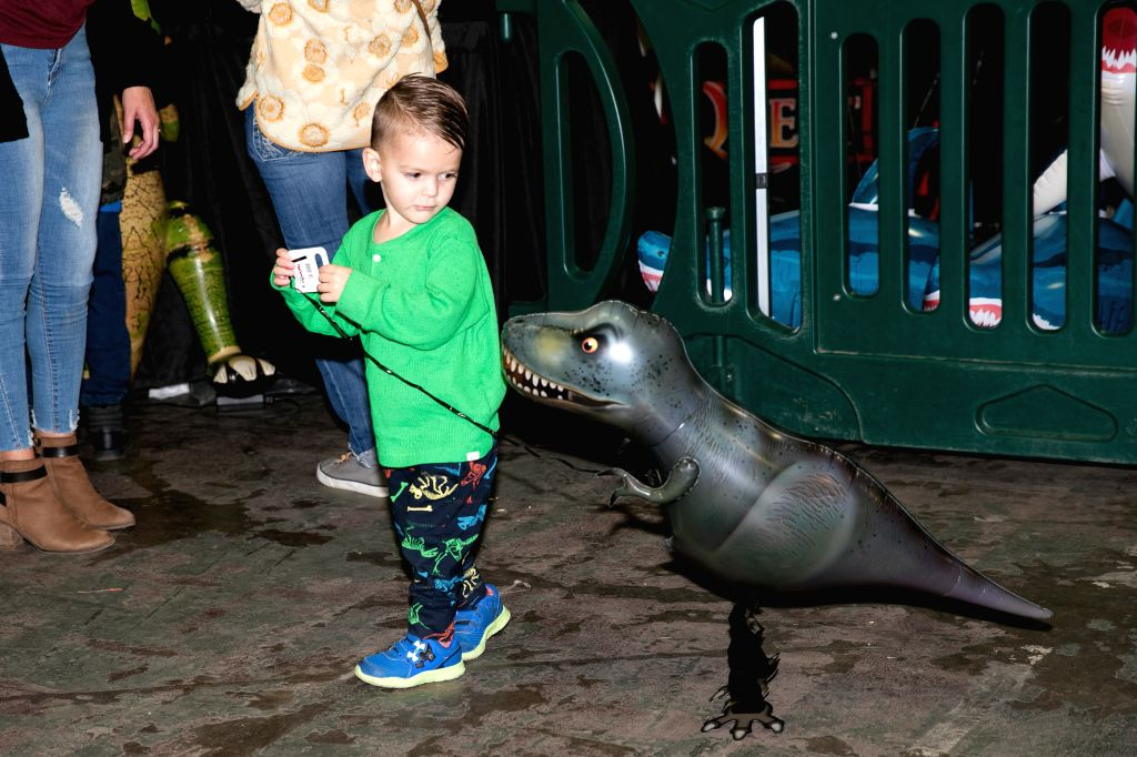 DALLAS, Dec. 8, 2019 - A girl plays with a dinosaur model at the Jurassic Quest exhibition in Dallas, Texas, the United States, on Dec. 8, 2019. Dinosaur exhibition Jurassic Quest is held in Dallas ...