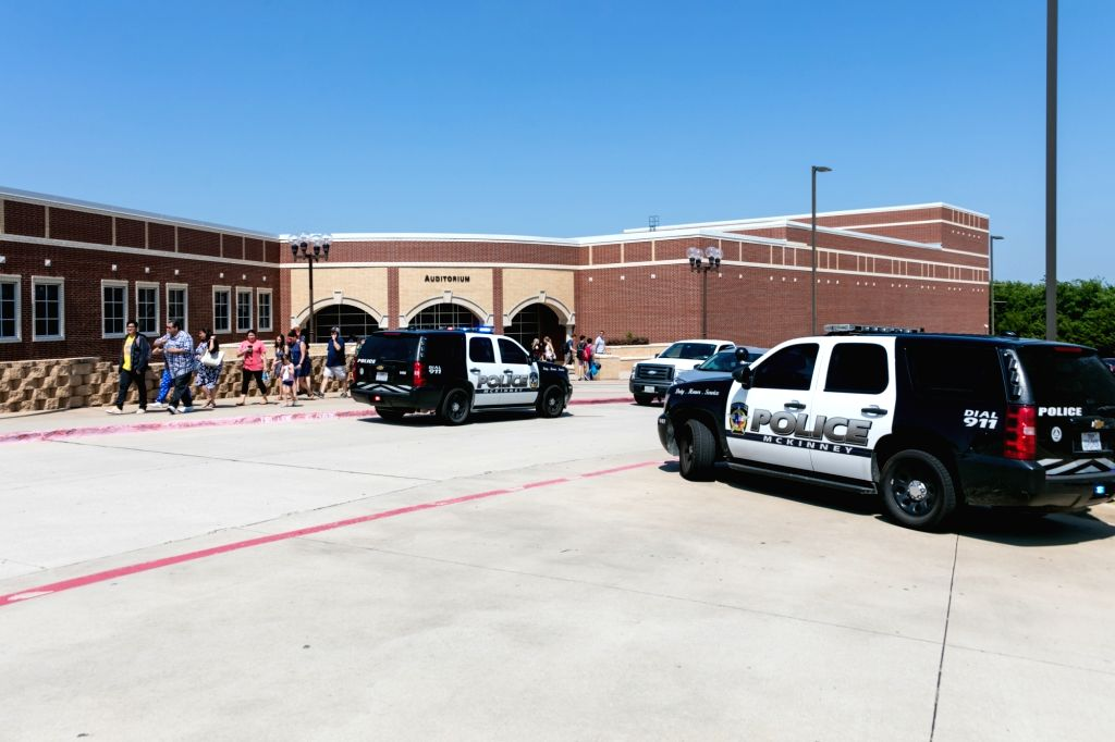 DALLAS, June 2, 2018 - Police cars arrive at the McKinney North High school, about 60 km north of Dallas, Texas, the United States, on June 1, 2018. Local officials confirmed Friday that a high ...