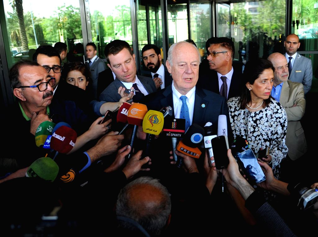 DAMASCUS, April 11, 2016 - United Nations envoy to Syria Staffan De Mistura(C) speaks to the media in Four Seasons Hotel in Damascus, capital of Syria on April 11, 2016.De Mistura said that the ...