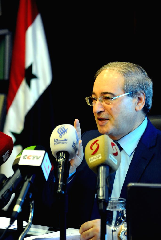 DAMASCUS, Feb. 14, 2018 - Syria's Deputy Foreign Minister Faisal Mekdad speaks during a press briefing in Damascus, Syria, on Feb. 14, 2018. Syria's Deputy Foreign Minister Faisal Mekdad said ... - Faisal Mekdad