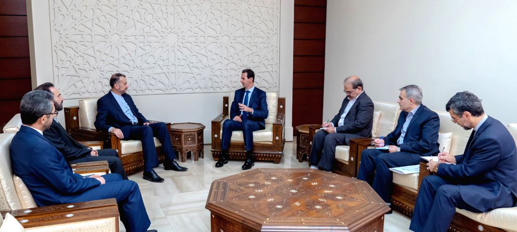 DAMASCUS, July 15, 2019 - Syrian President Bashar al-Assad (4th R) holds talks with Hossein Amir Abdollahian (5th R), visiting assistant speaker for international affairs of Iran's Shura Council, in ...
