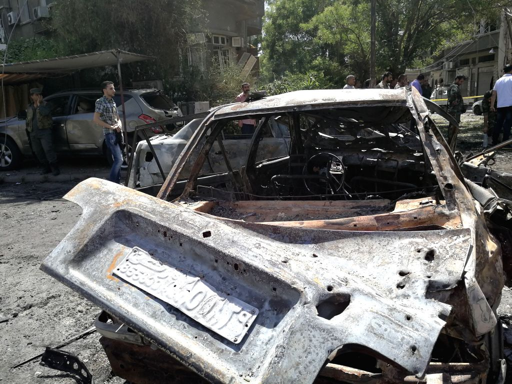 DAMASCUS, July 2, 2017 - Civilians gather at the Tahrir Square in Damascus, capital of Syria, on July 2, 2017. A car bomb rocked the Tahrir Square in the capital and two cars exploded near the ...