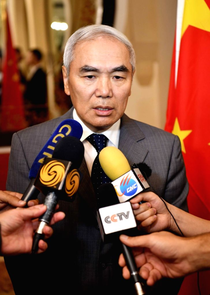DAMASCUS, July 26, 2018 - China's Special Envoy for Syria Xie Xiaoyan speaks to media in Damascus, Syria, on July 26, 2018. Xie Xiaoyan on Thursday renewed the Chinese government's calls for ...