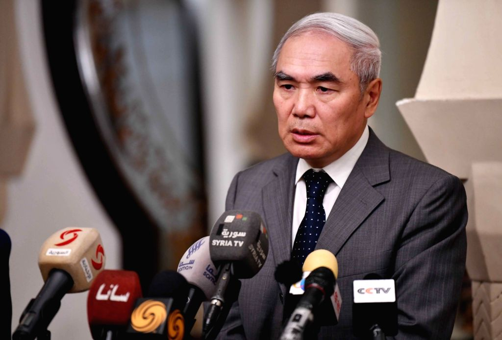 DAMASCUS, July 26, 2018 - China's Special Envoy for Syria Xie Xiaoyan speaks at a press conference in Damascus, Syria, on July 26, 2018. Xie Xiaoyan on Thursday renewed the Chinese government's calls ...