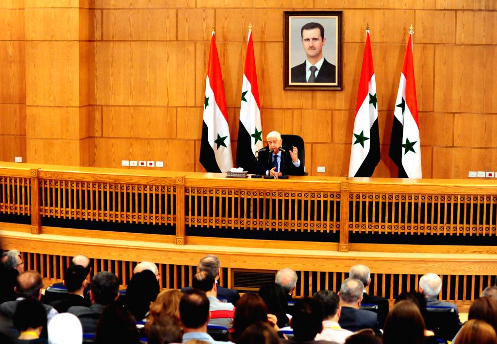 DAMASCUS, June 2, 2018 - Syria's Foreign Minister Walid al-Moallem speaks during a press conference in Damascus, Syria, on June 2, 2018. Walid al-Moallem said on Saturday that the U.S. should ... - Walid