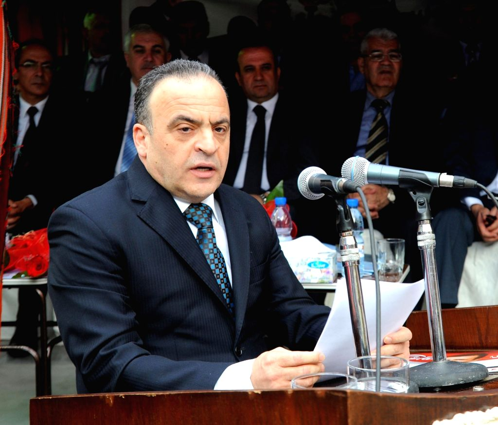 DAMASCUS, June 22, 2016 - File photo taken on May 1, 2014 shows Emad Khamis addressing politicians on the occasion of the anniversary of the ruling al-Baath Party in Damascus, capital of Syria. ... - Waerl