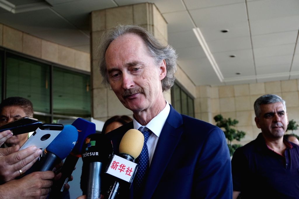 DAMASCUS, Oct. 16, 2019 - UN Special Envoy for Syria Geir Pedersen speaks to reporters after a meeting with Syrian Foreign Minister Walid al-Moallem in Damascus, Syria, on Oct.16, 2019. Geir Pedersen ... - Walid