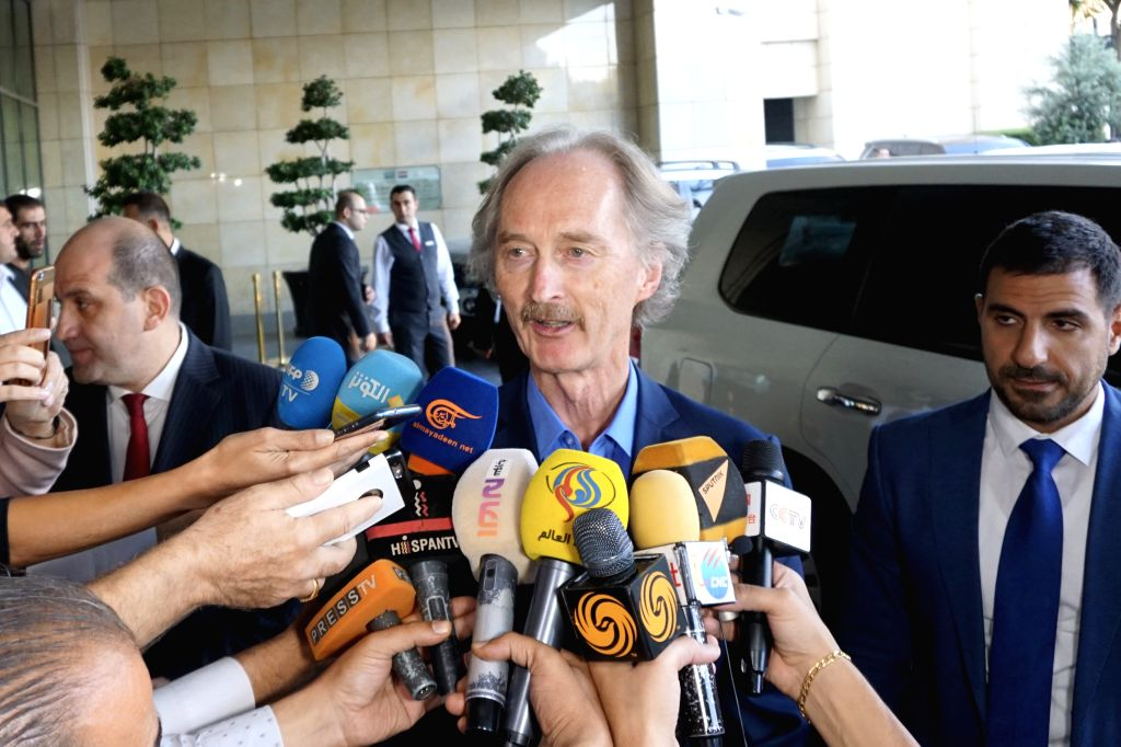 DAMASCUS, Sept. 22, 2019 - UN Special Envoy for Syria Geir Pedersen speaks to reporters in Damascus, Syria, on Sept. 22, 2019. Geir Pedersen said on Sunday that progress has been made on the ...