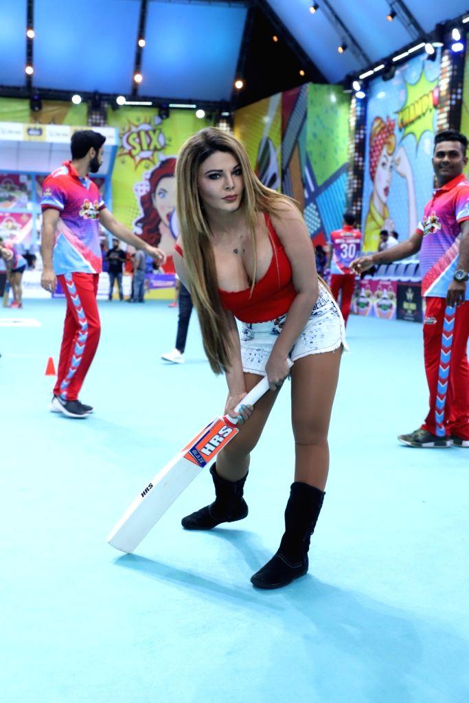 Dancer Rakhi Sawant during a photoshoot of Box Cricket League (BCL) 2019, in Mumbai, on April 9, 2019.