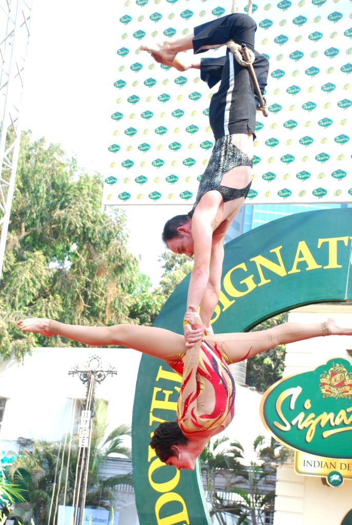 Dancers performing at McDowell Indian Derby event in Mumbai.