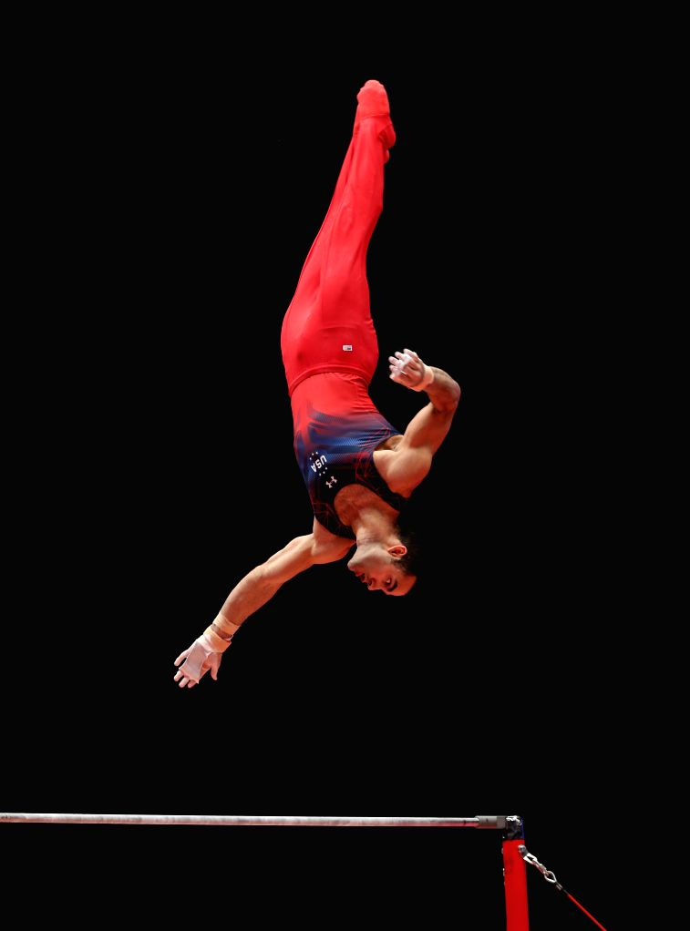 Danell Leyva of the United States competes during the Men's Horizontal Bar Final at the 46th World Artistic Gymnastics Championships at the SSE Hydro Arena in ...