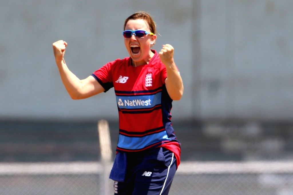 Danielle Hazell of England celebrates fall of Jemimah Rodrigues' wicket during the women's tri-series T20I match between India and England at the Brabourne Stadium in Mumbai on March 29, 2018.