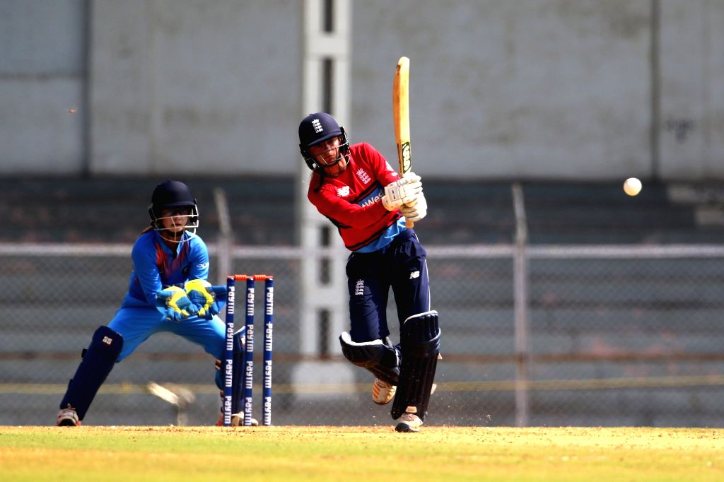 Danielle Wyatt of England in action during the women's tri-series T20I match between India and England at the Brabourne Stadium in Mumbai on March 29, 2018.