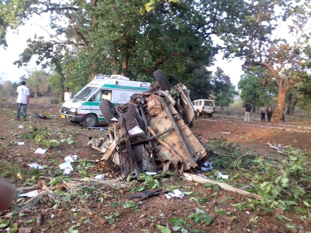 Dantewada: The site where Maoists exploded an improvised explosive device (IED) killing five policemen who were escorting BJP MLA Bhima Mandavi who too was killed, in Chhattisgarh's Dantewada district on April 9, 2019.
