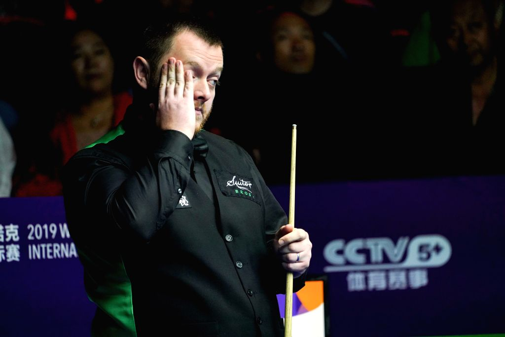 DAQING, Aug. 10, 2019 - Mark Allen of Northern Ireland reacts during the semifinal against Shaun Murphy of England at 2019 World Snooker International Championship in Daqing, northeast China's ...