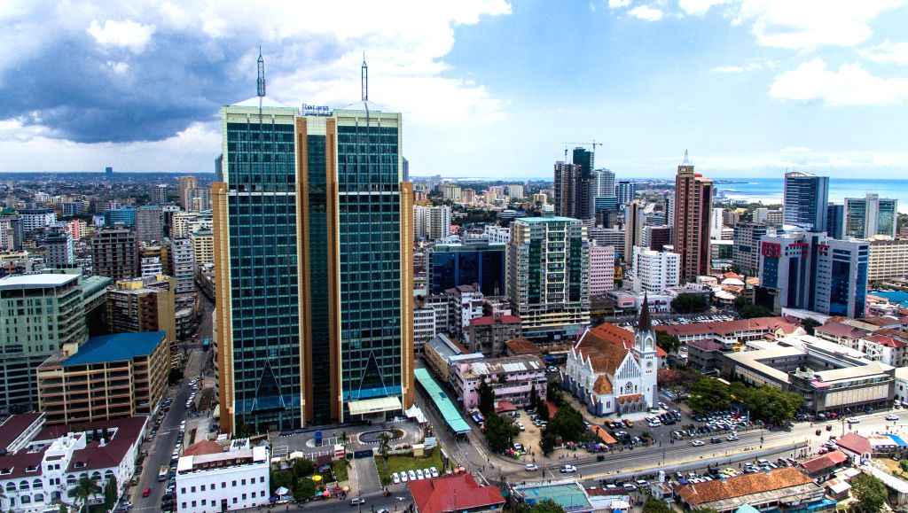 DAR ES SALAAM, Sept. 6, 2019 - Photo taken on Sept. 3, 2019 shows the Mwalimu Nyerere Foundation Building built by China Railway Construction Engineering Group in Dar es Salaam, Tanzania. Tanzanian ...