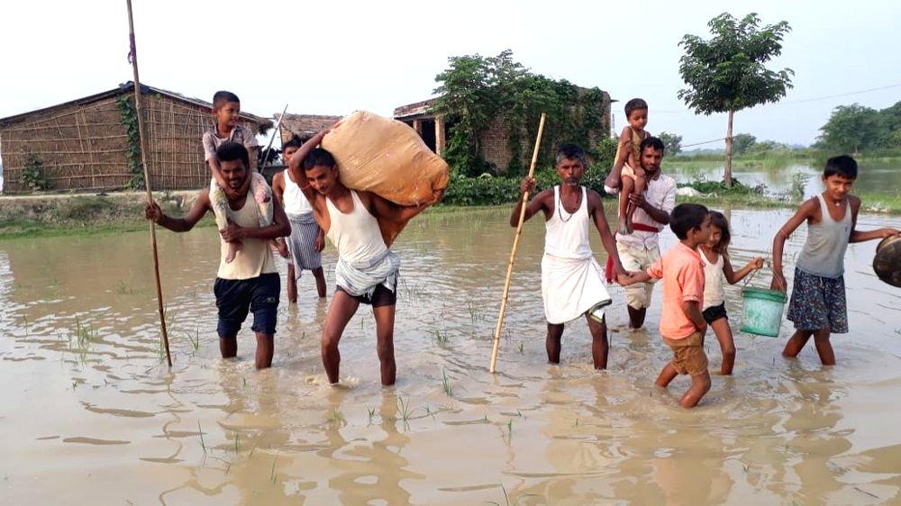 Darbhanga: A view of the flood affected Darbhanga in Bihar, on July 24, 2019. (Photo: IANS)