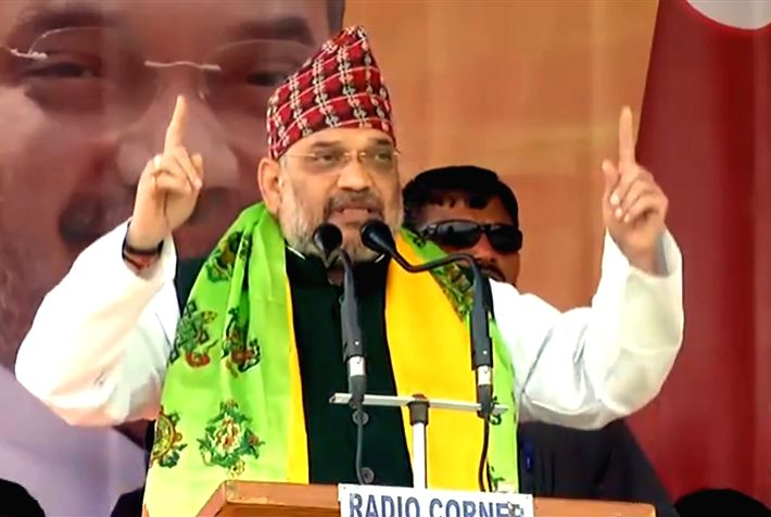 Darjeeling: BJP chief Amit Shah addresses a public rally in West Bengal's Darjeeling, on April 11, 2019. (Photo: IANS) - Amit Shah