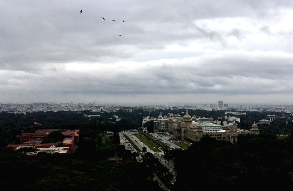 Dark clouds hover over Bengaluru on an overcast day due to the effect of cyclonic storm Nivar, on Nov 26, 2020.
