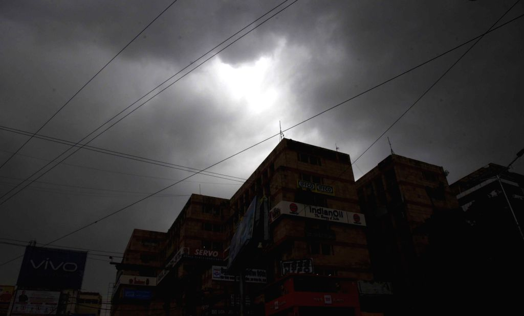 Dark clouds hover over the skies in Patna on an overcast day on May 7, 2020.