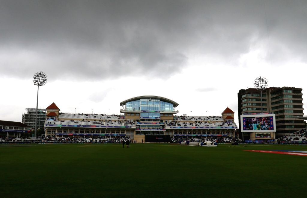 Dark clouds hover over Trent Bridge Cricket Ground where the 18th Match of World Cup 2019 between India and New Zealand was scheduled to take place but has been delayed due to rains in ...