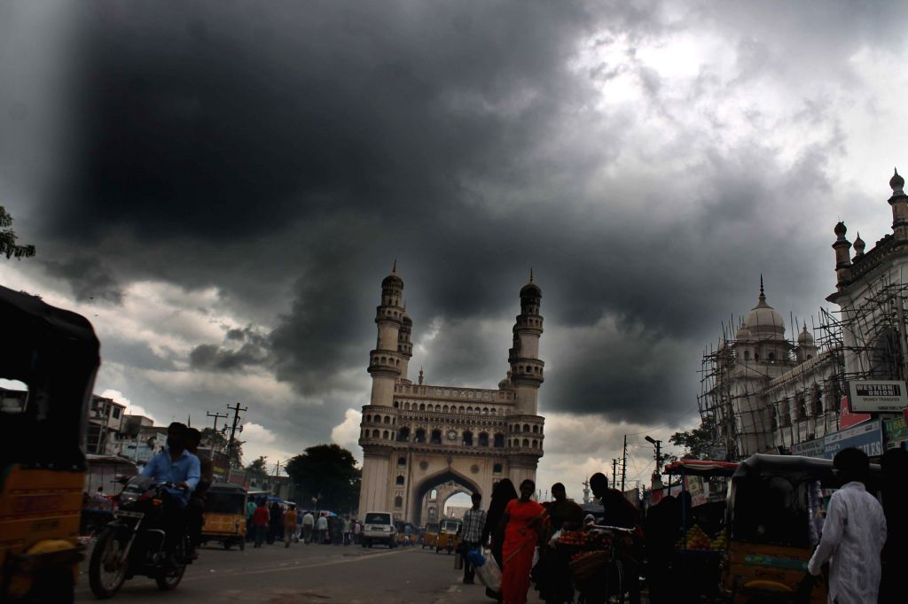 Dark clouds loom over Charminar in Hyderabad on Aug. 30, 2014.