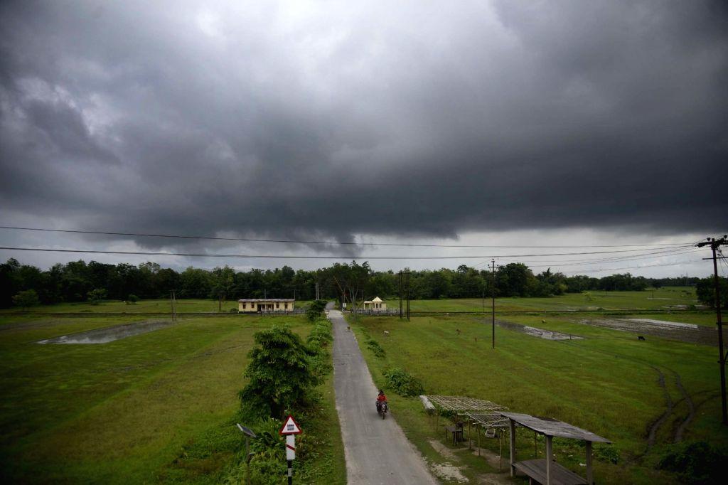 Dark clouds loom over Nagaon on June 14, 2019.