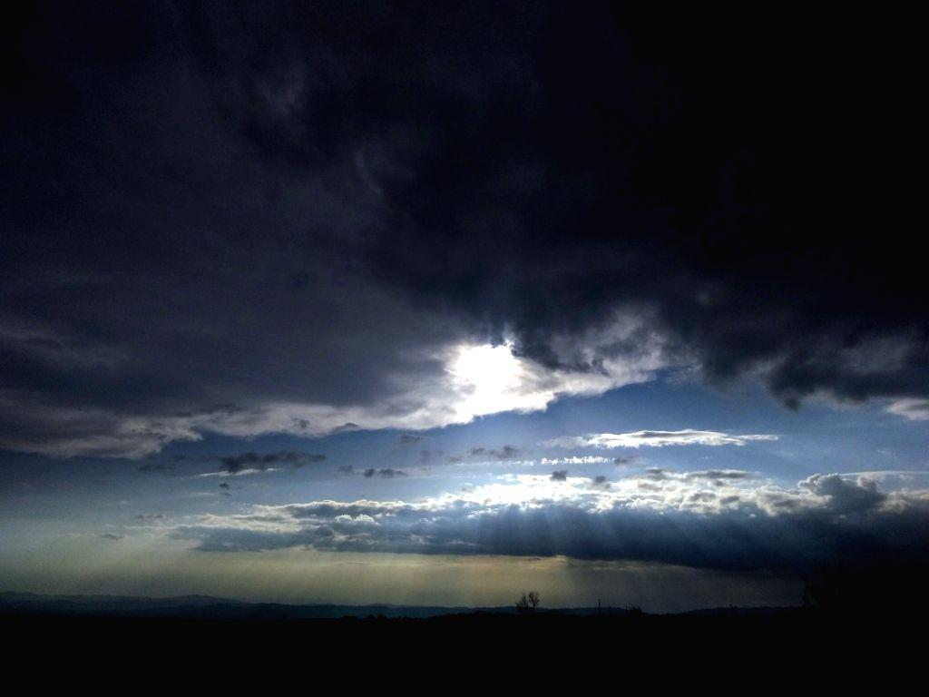 Dark clouds loom over Palampur, Himachal Pradesh on March 14, 2019.