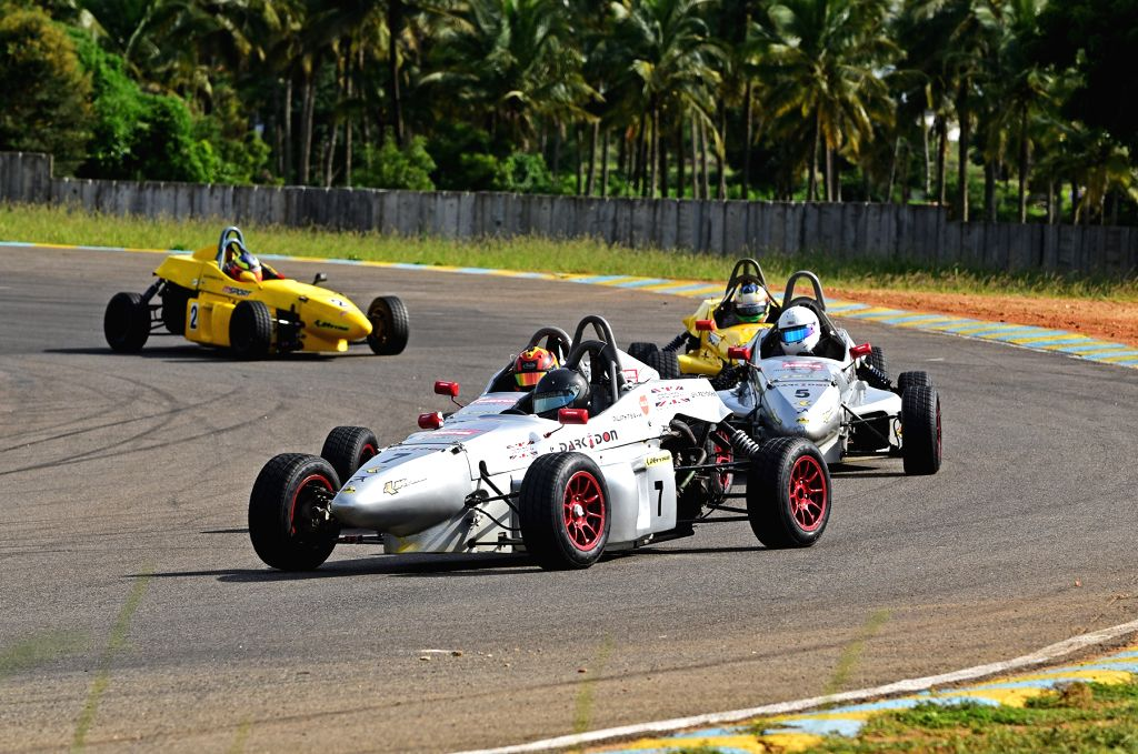 Dark Don Racing's Diljith TS in action during Round 3 on Day 1 of the JK Tyre FMSCI National Racing Championship 2019 at the Kari Motor Speedway in Coimbatore, on Sep 28, 2019.
