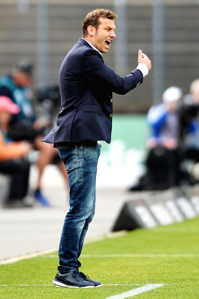 DARMSTADT, April 17, 2017 - Head coach Markus Weinzierl of FC Schalke 04 reacts during the Bundesliga match between SV Darmstadt 98 and FC Schalke 04 at Stadion am Boellenfalltor on April 16, 2017 in ...