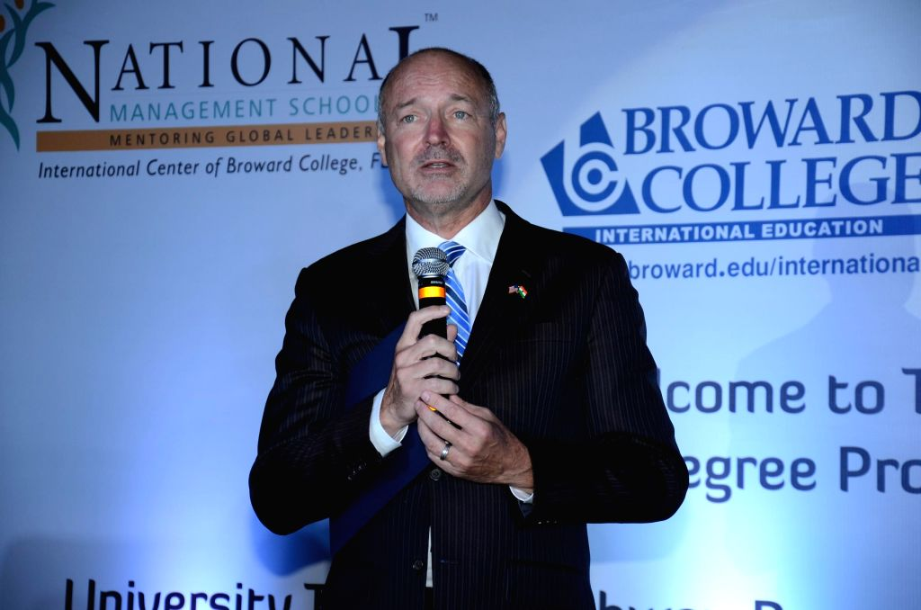 David Armstong (President Broward College) addressing the Conference during the program is a huge advantage for Indian students interested in an American bachelor's degree, because they would spend ..