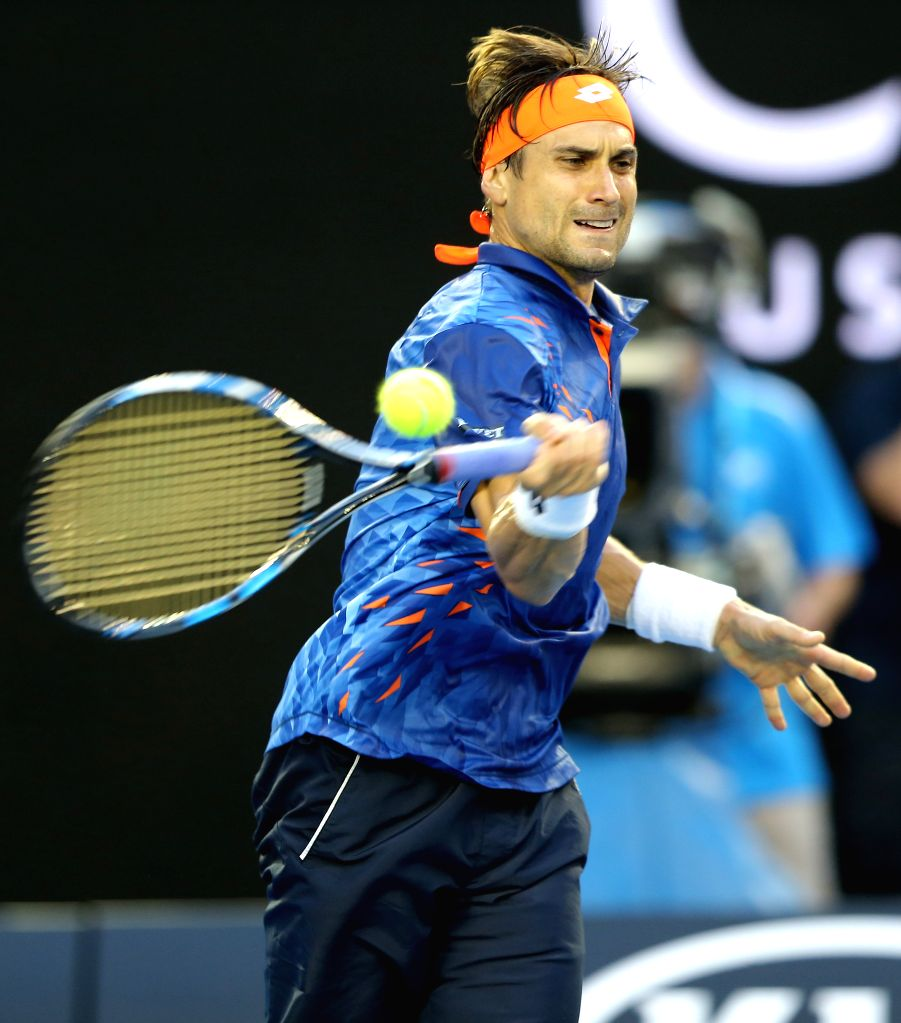 David Ferrer of Spain competes against Australia's Lleyton Hewitt during the second round match of men's singles at the Australian Open Tennis Championships in ...