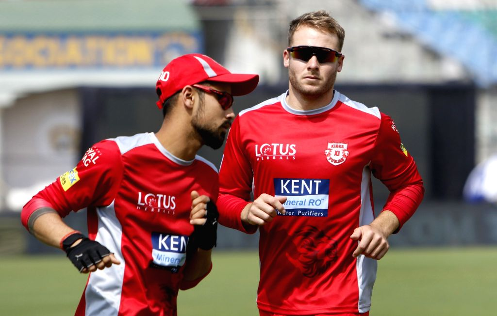 David Miller of Kings XI Punjab, during a practice session in Mohali on April 7, 2018.