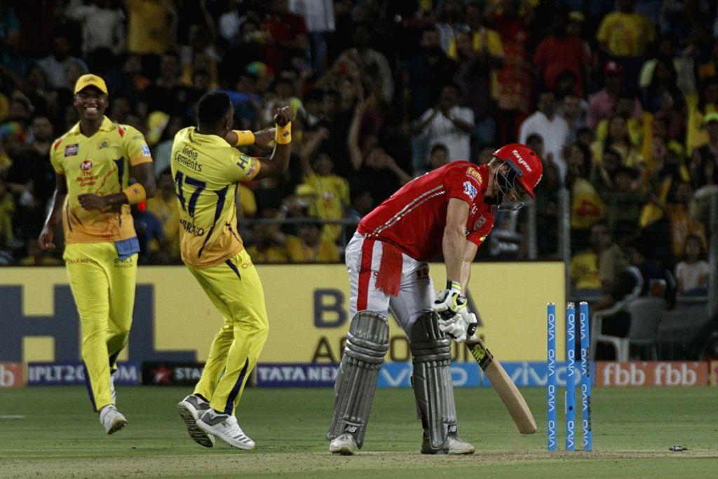 David Miller of Kings XI Punjab gets dismissed during an IPL 2018 match between Chennai Super Kings and Kings XI Punjab at Maharashtra Cricket Association Stadium in Pune on May 20, 2018.