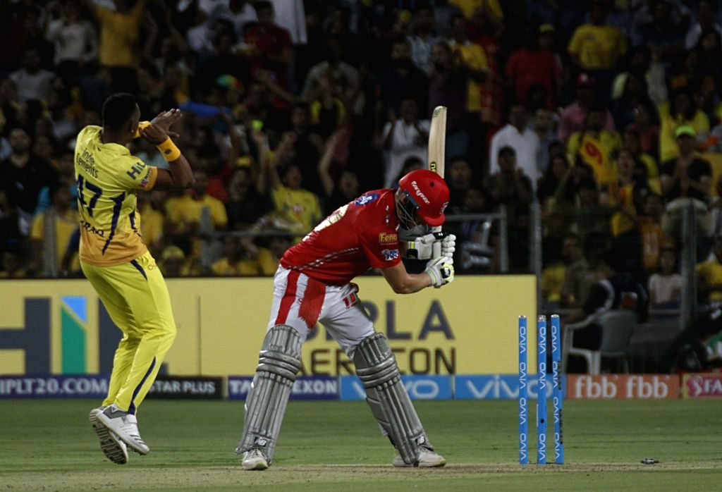 David Miller of Kings XI Punjab gets dismissed during an IPL 2018 match between Chennai Super Kings and Kings XI Punjab at Maharashtra Cricket Association Stadium in Pune on May 20, 2018.