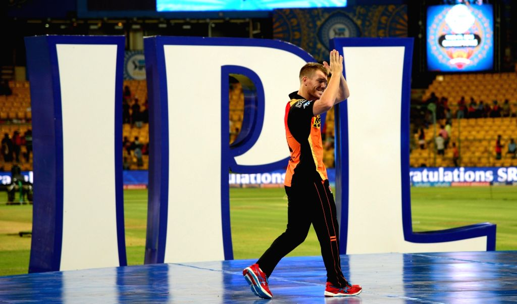 David Warner during the presentation ceremony organised after the final match of IPL 2016 at M Chinnaswamy Stadium in Bengaluru, on May 29, 2016.