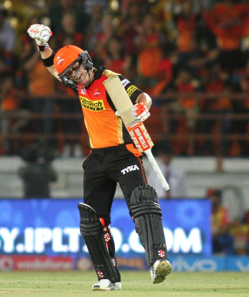 David Warner of Sunrisers Hyderabad after winning the IPL match between Gujarat Lions and Sunrisers Hyderabad at Saurashtra Cricket Association Stadium in Rajkot on April 21, 2016.