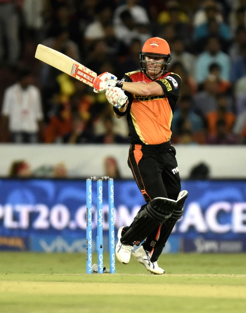 David Warner of Sunrisers Hyderabad in action during an IPL match between Sunrisers Hyderabad and Mumbai Indians at Rajiv Gandhi International Stadium in Hyderabad, on April 18, 2016.