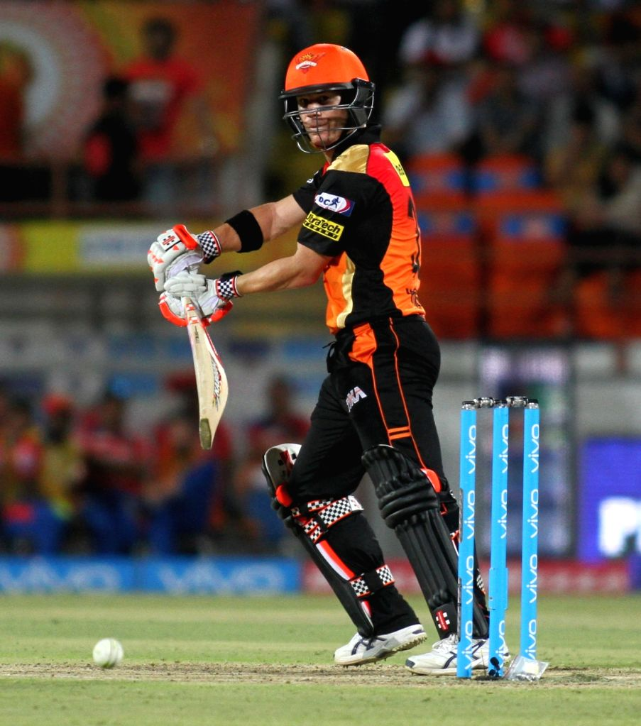 David Warner of Sunrisers Hyderabad in action during an IPL match between Gujarat Lions and Sunrisers Hyderabad at Saurashtra Cricket Association Stadium in Rajkot on April 21, 2016.