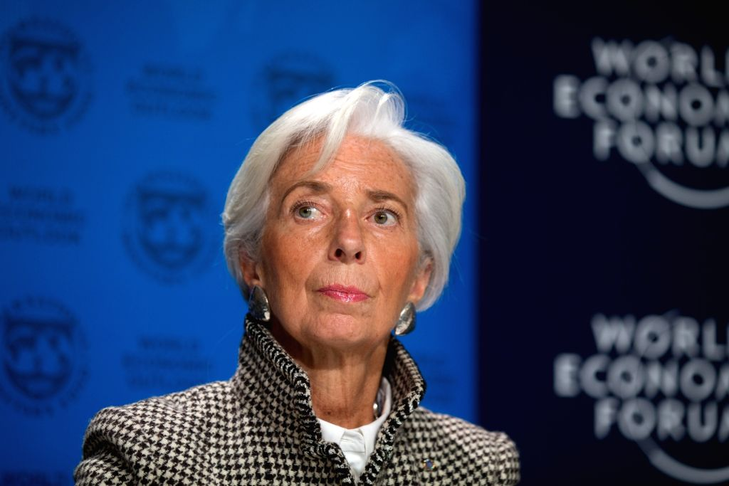 DAVOS, Jan. 22, 2018 - Managing Director of the International Monetary Fund (IMF) Christine Lagarde attends a press conference on Update of the World Economic Outlook in Davos, Switzerland, Jan. 22, ...