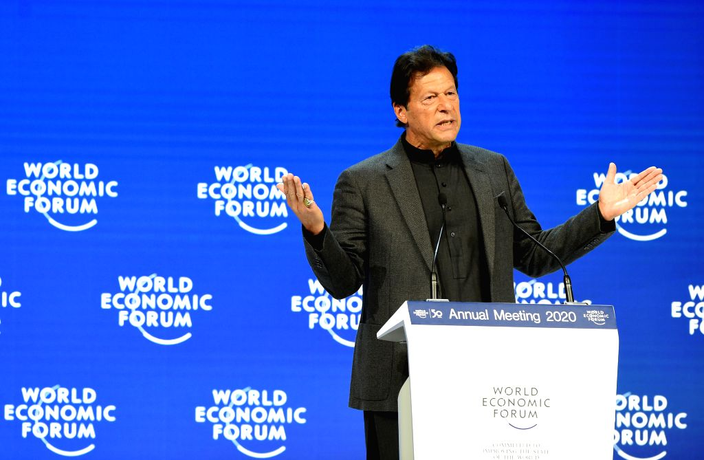 DAVOS, Jan. 23, 2020 (Xinhua) -- Pakistani Prime Minister Imran Khan speaks at the World Economic Forum (WEF) annual meeting in Davos, Switzerland, Jan. 22, 2020. (Xinhua/Guo Chen/IANS) - Imran Khan