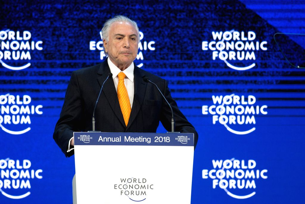 DAVOS, Jan. 24, 2018 - Brazilian President Michel Temer speaks during the 48th WEF annual meeting in Davos, Switzerland, Jan. 24, 2018. The 48th World Economic Forum (WEF) Annual Meeting opened ...