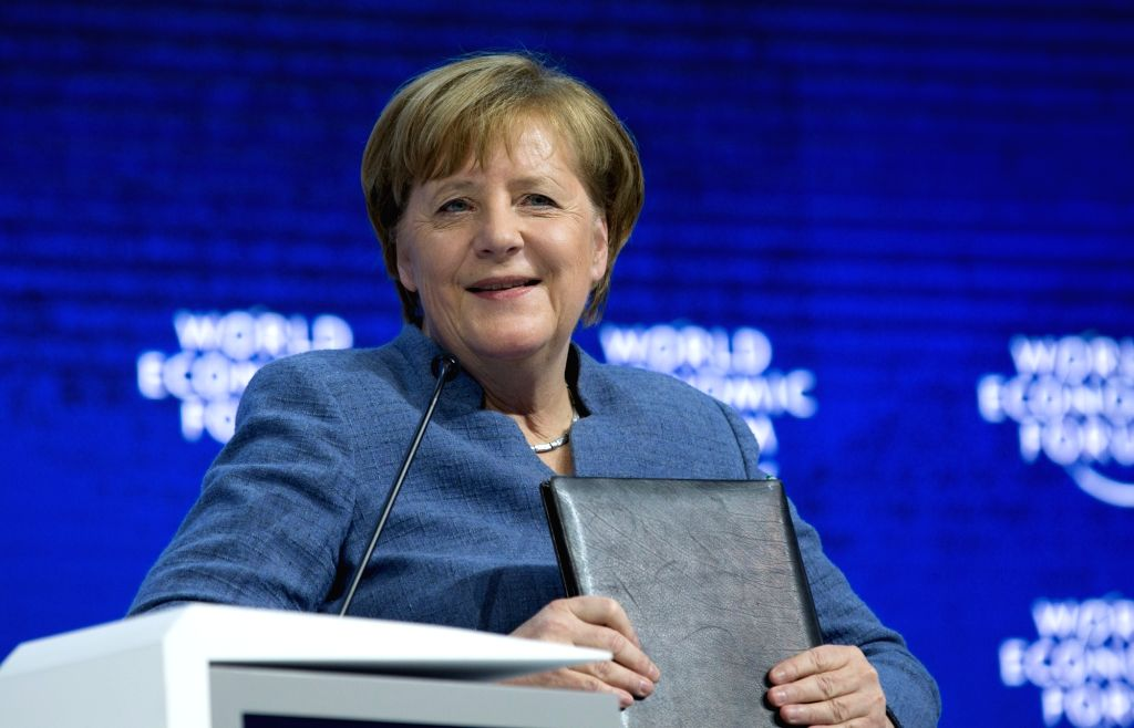 DAVOS, Jan. 24, 2018 - German Chancellor Angela Merkel attends a plenary session during the 48th annual meeting of the World Economic Forum (WEF) in Davos, Switzerland, Jan. 24, 2018. The 48th World ...