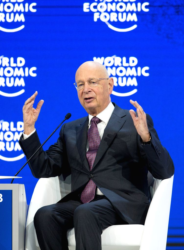 DAVOS, Jan. 24, 2018 - Klaus Schwab, World Economic Forum (WEF) founder and executive chairman, speaks during the 48th WEF annual meeting in Davos, Switzerland, Jan. 24, 2018. The 48th World Economic ...