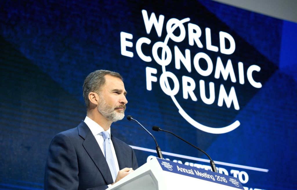 DAVOS, Jan. 24, 2018 - Spain's King Felipe VI speaks during the 48th annual meeting of the World Economic Forum (WEF) in Davos, Switzerland, Jan. 24, 2018. The 48th World Economic Forum (WEF) Annual ...