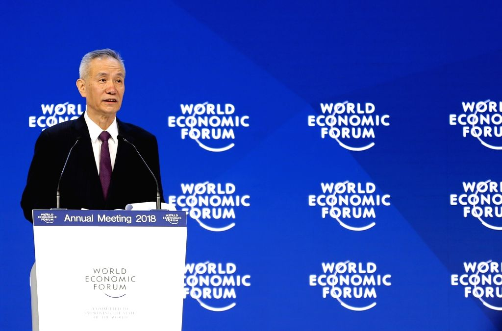 DAVOS, Jan. 24, 2018 (Xinhua) -- Liu He, a member of the Political Bureau of the Communist Party of China (CPC) Central Committee and director of the General Office of the Central Leading Group for Financial and Economic Affairs, gives a speech durin
